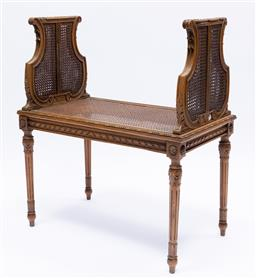 Sale 9200P - Lot 88 - A fine French late 19th Century caned and gilded petit canape, Height 85cm x Width 74cm x Depth 40cm