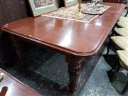 Sale 8714 - Lot 1084 - Good Late Victorian Mahogany Extension Dining Table, with three leaves & on five turned & fluted legs (winder in office)
