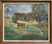 Sale 8759 - Lot 2087 - Joseph Klimek - A Country Home oil on canvas, 61 x 72.5cm (frame), signed lower left -
