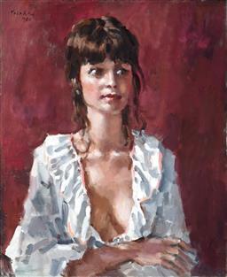 Sale 9013 - Lot 550 - Colin Colahan (1897 - 1987) - Portrait of a Young Woman, 1980 71.5 x 58.5 cm (frame: 86 x 72 x 4 cm)
