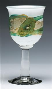 Sale 9090 - Lot 67 - An Isle of Wight Glass goblet by Michael Harris 1980 (H16.5cm)