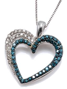 Sale 9160 - Lot 329 - A 14CT WHITE GOLD BLUE AND WHITE DIAMOND HEART PENDANT NECKLACE; open heart pendant set with round brilliant cut white and treated b...
