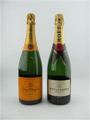 Sale 8353 - Lot 680 - 2x NV Champagne - 1x Veuve Cliquot Ponsardin, 1x Moet et Chandon