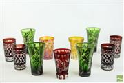 Sale 8494 - Lot 89 - Etched Green, Amber and Red Drinking Glasses inc Carnival Glass Example