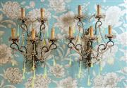 Sale 8500A - Lot 29 - A pair of rare antique Venetian 5 branch giltwood sconces with green vaseline glass dragon tears, rock crystal beaded swags measurem...