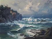 Sale 8881 - Lot 573 - Andris Jansons (1939 - ) - Stormy Coast View, 1975 44.5 x 59.5 cm