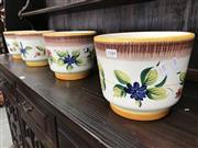 Sale 8868 - Lot 1544 - Set of Four Italian Hand Painted Floral Plant Pots (1494)