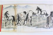 Sale 8913C - Lot 92 - Horse and farmer themed Chinese Scroll, L360cm