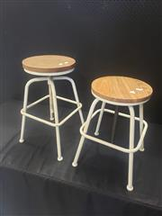 Sale 8959 - Lot 1043 - Pair of Square Based Stools with Timber Top (H: 55 / 75, W: 36cm2)