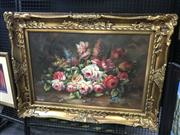 Sale 9045 - Lot 2023 - Artist Unknown Still Life acrylic on canvas 90 x 118cm (frame), signed L Kern lower left -