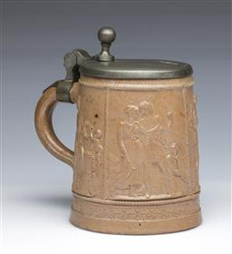 Sale 9093P - Lot 61 - C19 Stoneware Stein with the Four Ages of Life (H: 14 cm)