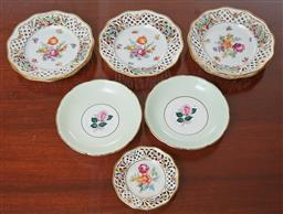 Sale 9098H - Lot 79 - A set of German pierced and painted floral petit fours dishes, Diameter 16cm
