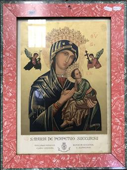 Sale 9103 - Lot 2062 - An Illuminated chromolithograph of St. Maria de Perpetuo Succursu, 56 x 42cm (frame)