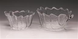 Sale 9107 - Lot 21 - A Scandinavian Graduated Pair of Crystal Eden Leaf Vases (largest h:13 dia:26cm)