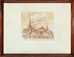 Sale 9190H - Lot 7 - R F Latovsky,  A pair of framed sepia engravings, depicting Riga scenes, damaged frames and warped picture, frame size 42cm x 32cm