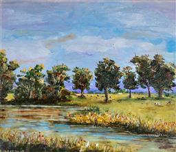 Sale 9191A - Lot 5018 - JOHN KONSTANT (1947 - ) New South Wales Landscape oil on canvas board 30 x 35 cm (frame: 63 x 67 x 3 cm) signed