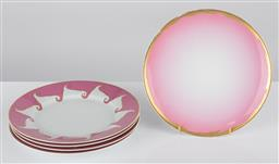Sale 9255H - Lot 37 - A set of 4 Christian Lacroix Follement dinner plates with pink and gilt border, Diameter 26.5cm, together with an ombre pink and g...
