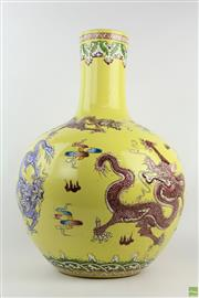 Sale 8555 - Lot 76 - Hand Painted Chinese Vase Yellow Field Dragon Motif, Qianlong Mark