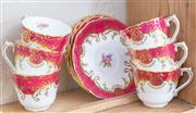 Sale 8550H - Lot 97 - A set of six Coalport tea cups and saucers of diminutive size, in the Sandringham pattern