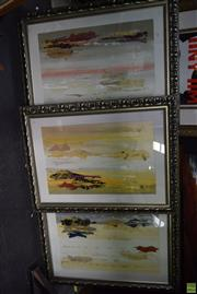 Sale 8592 - Lot 2043 - 3 Works, David K Miles, Abstract Mixed Media, Frame Size (90 x 120cm)
