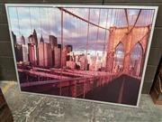 Sale 8678 - Lot 2095 - Framed Canvas Print of the Brooklyn Bridge -