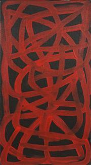 Sale 8708A - Lot 537 - Emily Kngwarreye (c1910 - 1996) - Bush Yam Awelye 59 x 31.5cm