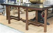 Sale 8709 - Lot 1087 - A Blainey North glass top console table with geometric stretcher base and tapered legs, H x 76cm, W x 56cm and L x 154cm