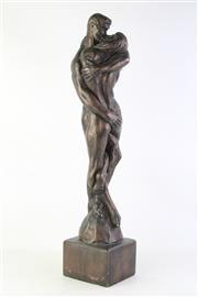 Sale 8806 - Lot 33 - Bronze Style Composite Nude Lovers Figural Statue (H: 65cm)