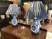 Sale 8868 - Lot 1529 - Pair of Blue & White Square Shaped Table Lamps (2329)