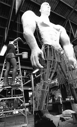Sale 8912A - Lot 5024 - Malcom Cole, Aboriginal Representation float under construction for the Sydney Gay and Lesbian Mardi Gras Parade (1988), 15.5 x 25 c...