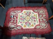Sale 8925 - Lot 1013 - A felt and chainlinked stitch carpet in cream together with another example