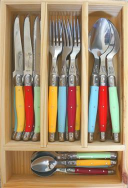 Sale 9138L - Lot 36 - Laguiole by Louis Thiers Lineaire 24-Piece Cutlery Set - Multicolour (straight handles)