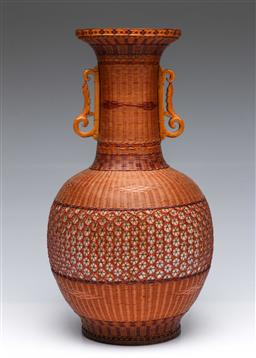 Sale 9093P - Lot 50 - Chinese Porcelain Double Handled Vase with Fine patterned Caning (H: 37 cm)