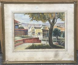 Sale 9106 - Lot 2081 - F.S Rodriguez Intersection of Pacific Highway and Berry Street  watercolour, frame: 70 x 80 cm, signed lower right -