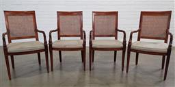 Sale 9191 - Lot 1036 - A set of four Mahogany carver chairs with rattan backs and fish motif (H 96cm W 60cm)