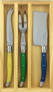 Sale 8705A - Lot 26 - Laguiole Andre Aubrac Multi-Coloured 3-Piece Cheese Set (YGB)