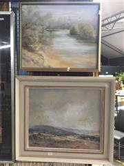 Sale 8771 - Lot 2085 - 2 Art Works: McMartin - River scene, oil; Allan Hansen - Distance Hills, Oil
