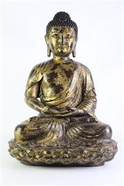Sale 8877 - Lot 12 - Large Chinese Gilt Figure of Buddha Shakyamuni, seated on double lotus pedestal, mark to back, H55cm