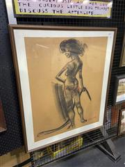 Sale 9028 - Lot 2027 - Eric Jolliffe The Snake Charmer, conte and pastel, frame: 88 x 75 cm, signed lower right