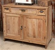 Sale 9060H - Lot 8 - A rustic pine dresser base/ cupboard with three drawers over two cupboard doors. (backless and faults) 98 x 115 x 57cm