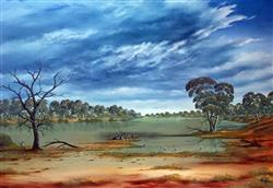 Sale 9091A - Lot 5028 - Jack Absalom (1927 - 2019) - Storm Clouds over the Cooper Near Innamincka 43 x 60.5 cm