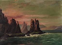Sale 9125 - Lot 591 - Louis Frank (1830 - 1923) - Seascape & Rock Formations 34 x 49.5 cm (frame: 48 x 63 x 4 cm)
