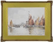 Sale 8323A - Lot 18 - Frank Thirkettle (XIX) - Yamouth Harbour, c1909 23 x 31.5cm
