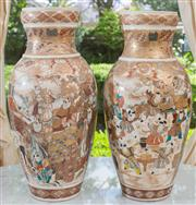 Sale 8435A - Lot 40 - A pair of Meiji satsuma vase with figural panels and Nishiki, approx. H 40cm