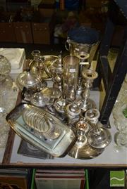 Sale 8509 - Lot 2239 - Collection of Plated Wares incl Candlesticks & Swan Toast Holder