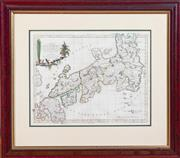 Sale 8625A - Lot 74 - A framed map Mar del Indie Orientali, Del Giappone, in a timber frame.