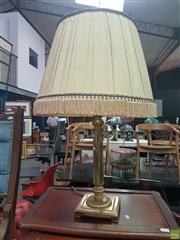 Sale 8648C - Lot 1078 - Brass Base Table Lamp with Pleated Shade