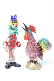 Sale 8725 - Lot 7 - Good Murano Multi Coloured Cockerel Together With A Clown (AF)