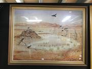 Sale 8726 - Lot 2051 - Arthur Boyd - Black Cockatoos at Waterhole Decorative Print 59 x 80cm, signed in print lower right