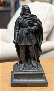 Sale 8746 - Lot 1086 - A 20th century French bronze figure of Simon de Montfort, in medieval costume, raised on a square socle with inscription and marke...